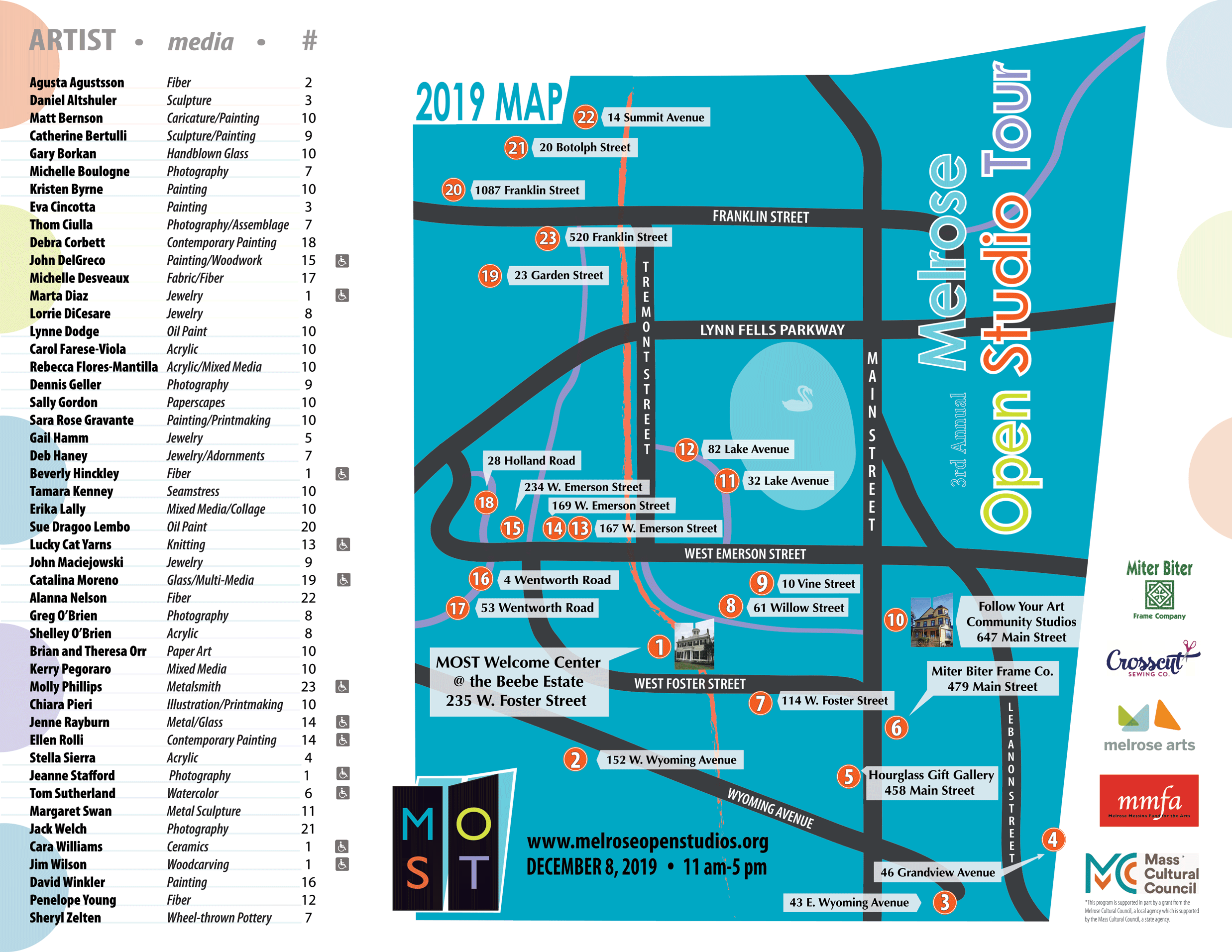 Melrose Open Studio Tour BW 2019 Map